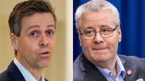 FØRERKORT: Du må rydde opp! sier Frp-politiker Bård Hoksrud (t.h.) til samferdselsminister Knut Arild Hareide (KrF). Foto: NTB Scanpix