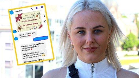 ADVARER: Etisk hacker og forfatter Mia Landsem ble selv forsøkt hacket på denne måten, men lot seg ikke lure. Foto: Sigurd Øfsti/Instagram (Mediehuset Nettavisen/Skjermdump @mialandsem)