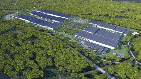 Slik kan Morrow's planlagte battericellefabrikk se ut når den er ferdig utbygd. Tomten er 940 daa, som tilsvarer 940.000 m2. Illustrasjon Excyte