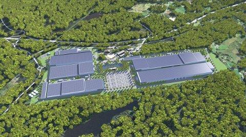 Illustrasjon av batterifabrikken som skal bygges i Eyde Industripark, mellom Tvedestrand og Arendal.