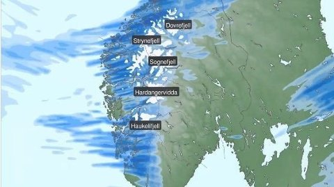 KALDT: Det er meldt snø i fjellene fra og med onsdag, varsler Meteorologisk institutt. Foto: Skjermdump / Meteorologisk institutt