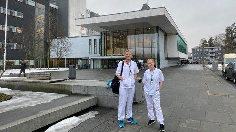 Jørund Volle og Gro Utkilen reiste i åtte timer for å hjelpe til på intensivavdelingen ved Ahus.