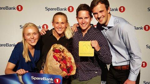 UTVIKLER GRÜNDERDRØMMEN: Nicoline Saarisilta Bergh, Solveig Christensen, Bendik Fon (fra Tønsberg) og Mathias Berg vant 250.000 kronerr. Den femte på laget, Andre Haig Johansen, var ikke tilstede.