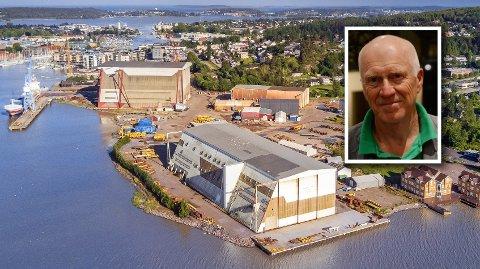 UTVIKLING: Snart er hallene borte. Richard Fossum (Sp), varaordfører i Færder kommune, håper på grønn, moderne industri på Kaldnes Vest i framtiden.