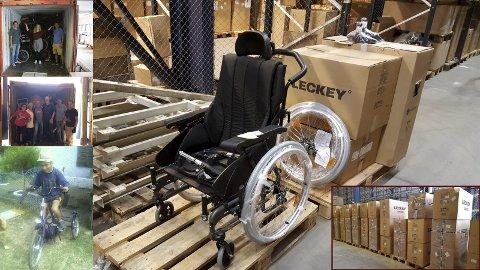 Hjelper andre: Hjelpemidlene vi fikk har en faktisk verdi på flere millioner norske kroner. Det er rullestoler, sykler (med og uten strøm), og massevis av reservedeler, forteller Ole Seipajærvi til Amta.
