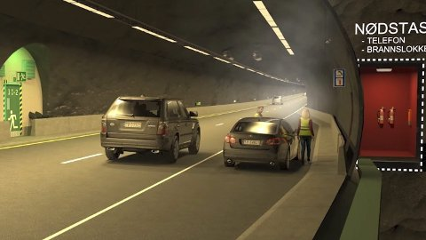 KRYSSE: Det nye tunnelløpet ved Oslofjordtunnelen er lagt opp slik at bilister må krysse veibanen for å komme seg i trygghet i det andre tunnelløpet ved en hendelse. Illustrasjon: Statens vegvesen