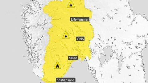 SKOGBRANNFARE: Sommervarme og lite nedbør gjør det farlig med åpen ild i skogen. Foto: Skjermdump (Meteorologisk institutt)