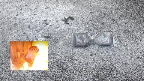 Utbrent: Slik så det ut da det tok fyr i hoverboardet til Jan Fredrik Berg sin ni år gamle sønn. Bare flaks gjorde at ingen ble skadet, mener han.