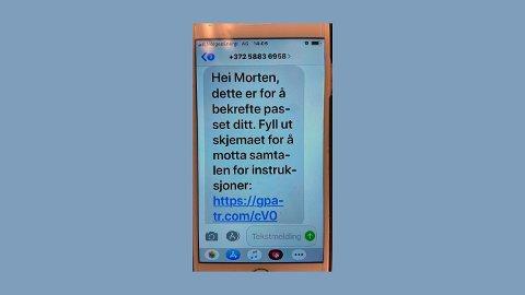 ADVARER: Eksempel på svindel-SMS som nå er i omløp. Politiet advarer mot å trykke på lenken.
