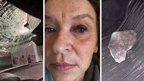 Torunn Hansen (54) skal innom sykehuset onsdag etter den svært dramatiske opplevelsen på E18 tirsdag kveld da hun fikk en stein gjennom frontruta.