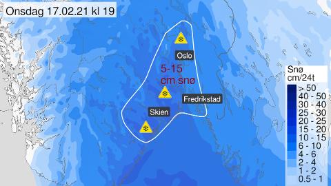 MYE SNØ: Det kommende døgnet kan man på Østlandet vente seg mellom 5 og 15 centimeter snø. Nå er det sendt ut farevarsel for blant annet Frogn og Nesodden.