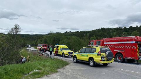 ULYKKE: En personbil kjørte av veien på riksveg 3 sør for Kvikne.