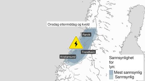 Yr.no varslet at det sannsynligvis vil tordne og lyne i disse områdene onsdag ettermiddag.