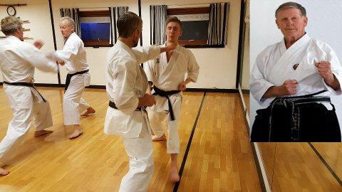Kamptrening i Ås karateklubb. T.v. Senei Tor Wedberg, som gikk bort i 2013.