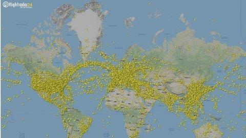 REKORD: Onsdag 24. juli 2019 ble det satt rekord i antall fly i lufta. Foto: (Flightradar24)