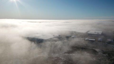 Lave tåkeskyer over Vestby næringspark øst i morgentimene torsdag.