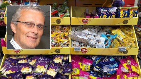 INGEN PRISKRIG: Varehandelekspert Odd Gisholt (innfelt) mener det kun er butikkene som tjener på at det ikke blir påskepriskrig.