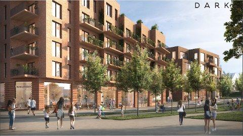 SENTRUMSGÅRD: Slik ser SKoleveien 2 AS for seg at det nye kvartalet på hjørnet av Moerveien og Skoleveien kan se ut i fremtiden. Selskapet foreslår å regulere for å rive dagens bygg og føre opp bygårder.