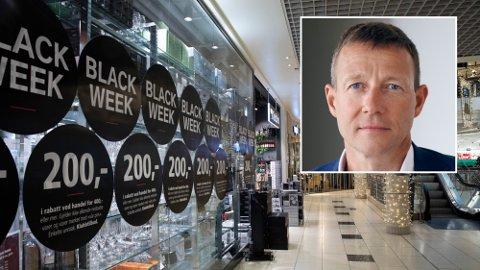Harald J. Andersen i Virke (innfelt bilde) mener ringvirkninger av koronapandemien vil kunne få konsekvenser for salget under Black Friday og Black Week i år.