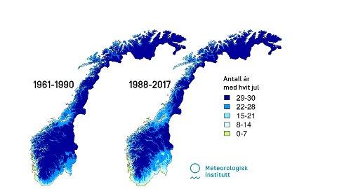 Kartene er basert på snødata for perioden 1961-1990 og 1988-2017. De viser hvor mange år det har vært 10 millimeter snø på bakken på julaften for hver av disse periodene. I snøkartene er grensen for om det er snø på bakken satt til 10 mm målt i vannekvivalent. Kilde: Cristian Lussana og Ketil Isaksen, klimaforskere ved Meteorologisk institutt.