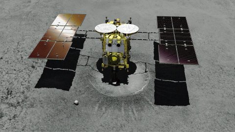 FILE - This computer graphic image provided by the Japan Aerospace Exploration Agency (JAXA) shows the Japanese unmanned spacecraft Hayabusa2 approaching on the asteroid Ryugu. Hayabusa2 is approaching the surface of an asteroid about 280 million kilometers (170 million miles) from Earth. The JAXA said Thursday, Feb. 21, 2019 that Hayabusa2 began its approach at 1:15 p.m.  (JAXA via AP, File)