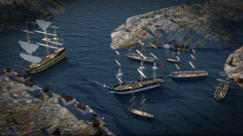 """Illustrasjon av skutene før slaget. HMS """"Dictator"""" ligger til venstre. """"Najaden"""" midt på bildet."""