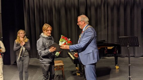 Balder Hansen (14) fikk i dag Risør kommunes talentstipend for idrett.