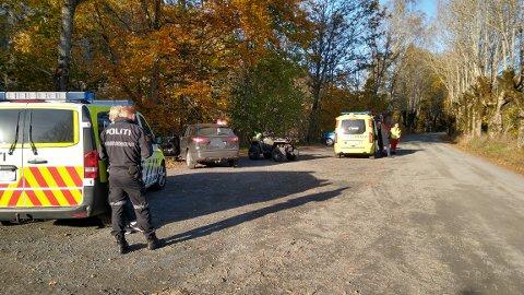 En ATV med to passasjerer veltet i dag på Søndeled.