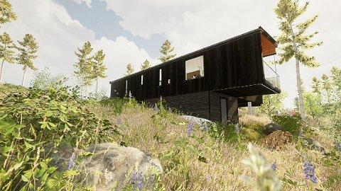 Hytta slik arkitekten ser den for seg. Illustrasjon: Arkitekt Atle Goutbeek
