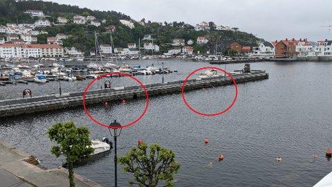 """TO AV FLERE: Slike """"lommer"""" blir satt opp for å hindre at båtene ligger for tett i sommer. Disse to er på steinmoloen, men det kommer også en lignende løsning på blant annet gjestebrygga, fortelles det."""