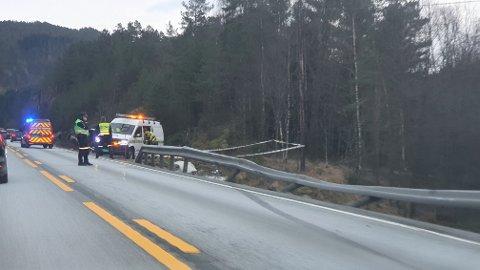 ULYKKE: Det har vært en ulykke på E39 i Flekkefjord lørdag formiddag.