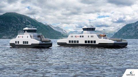 EL-FERJER: Her ser man illustrasjoner av de to ferjene som vil frakte passasjerer og kjøretøy til Hidra og Øyna fra og med høsten 2021.