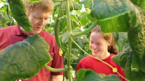 I FELTEN: Lisa Egeland Bentsen lærer om fruktbelastning av daglig leder hos Solberg gartneri, Kristian Solberg.
