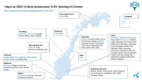 5G-KART: Her er Telenors oversikt over hvor det blir 5G-dekning i 2022.