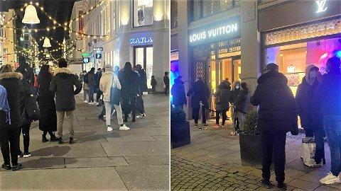 LANGE KØER: Som følge av julegavehandel i siste liten har det hopet seg opp kø utenfor flere butikker i Oslo sentrum.