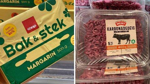 EGNE MERKEVARER: Her er to eksempler på produkter fra kjedenes egne merkevarer, blant annet smør fra Coop og kjøttdeig fra Meny.