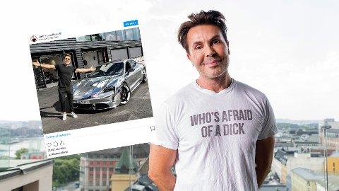FETT GLIS: På ett år har inntektene gått fra rundt to millioner kroner til 3,5 millioner for kjendisstylisten Jan Thomas. I år har han kjøpt den nye elbilen Porsche Taycan (innfelt, fra Instagram).