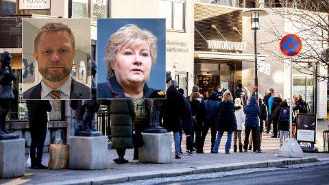 Statsminister Erna Solberg (H) og helseminister Bent Høie (H), begge innfelt, sier de ikke vet om det var Oslo-folk på vinmonopol i Bekkestua eller andre omkringliggende kommuner etter at polet ble steng i hovedstaden forrige helg.