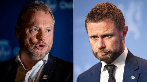 Byrådsleder i Oslo, Raymond Johansen (Ap) og heleminister Bent Høie (H) er sterkt uenige om prioriteringer av analyser av koronatester.