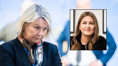 Justisminister Monica Mæland (H) rikker foreløpig ikke en tomme for kravet om å la kjærester i utlandet komme til Norge. Thea Grøgaard (innfelt) fortviler over nye uker uten sin kjære.