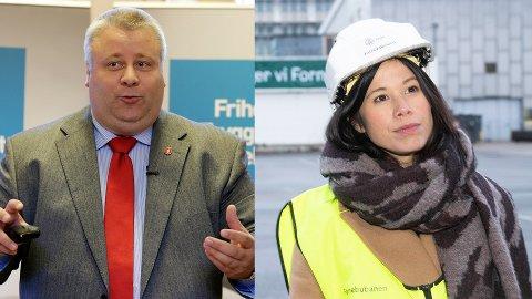 UENIGE: Bård Hoksrud (Frp) vil fjerne piggdekkavgiften på riks- og europaveier. Det mener Lan Marie Berg er en dårlig idé. (MDG).