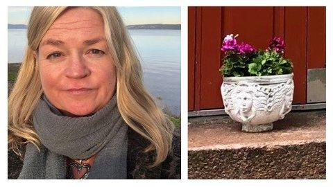 Cecilie Bjørnsdatter Hamm etterlyser den spesielle blomsterkrukken, som har stått på gata i Sagene i ti år.