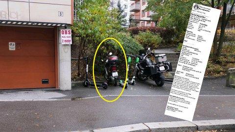 Fredrik Hovland fikk bot på 900 kroner da han parkerte motosykkelen sin her i et borettslag på Carl Berner. Krangelen endte i retten.  Bymiljøetaten og faksimile (montasje, Avisa Oslo)