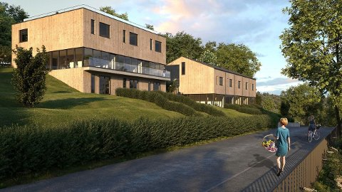TUNGSOLGT: Nye rekkehusleiligheter på Grorud med marka som nabo, men utbyggerne sliter med å få solgt. Ill: Privat