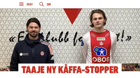 19. februar publiserte KFUM Oslo en sak på sine hjemmesider om at Jesper Taaje hadde signert for klubben.