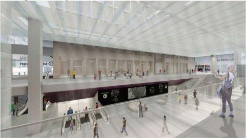 NY STASJON: Slik kan den nye stasjonen på Majorstuen bli seende ut. Illustrasjon: Sporveien