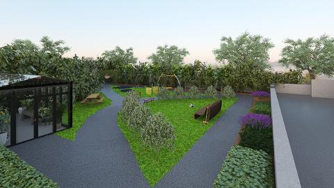 HAGE TIL KOS OG DYRKING: Hagen utenfor den tidligere direktørboligen på Helsfyr skal bygges om til en helsehage når Unicare overtar eiendommen.