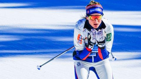 NORGES ESS: Therese Johaug på tredje etappe er Norges sterkeste kort på VM-stafetten. Spørsmålet er om det holder. Foto: Lise Åserud (NTB)