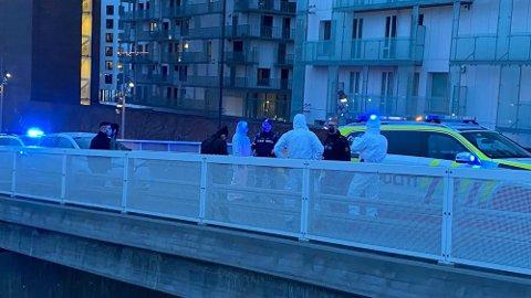 BLÅLYS: Politiet har pågrepet to unge menn etter et biltyveri i Bjørvika.