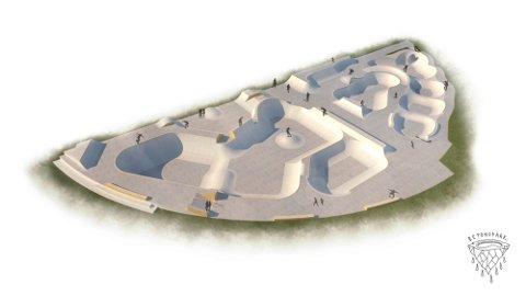 NY BETONGPARK: Rullejordal Skateboard Klubb har designet ny betongskatepark på Jordal selv. Parken skal stå ferdig våren 2022.